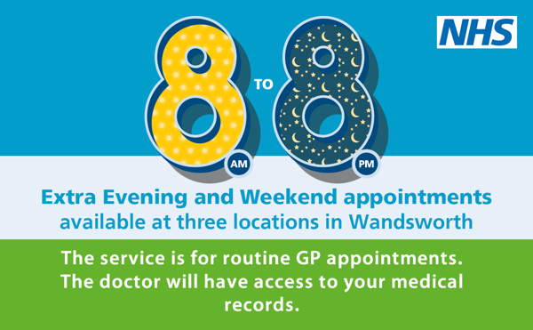 Extra GP Weekend and evening appointments at Wandsworth GP Hubs